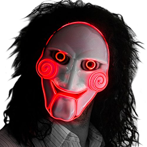NEON NIGHTLIFE Light Up Saw Movie Mask Creepy Horror Halloween Jigsaw Puppet, Red