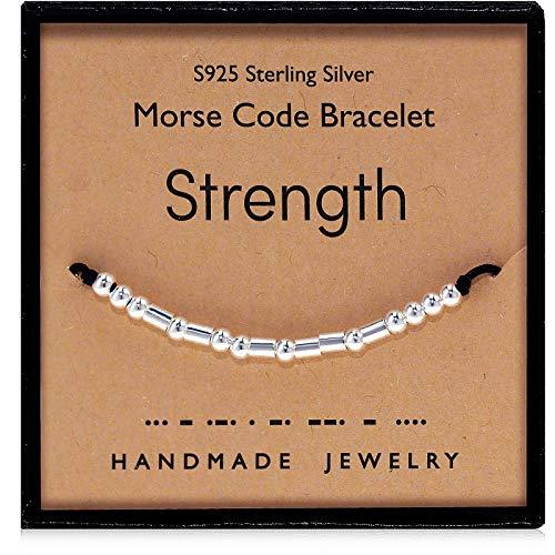 Suyi Stärke Morsecode Armband Inspirierende Geschenke für Frauen Ihr Sterling Silber Perlen Armband für Freundschaft Tochter Tochter Freundin Strength