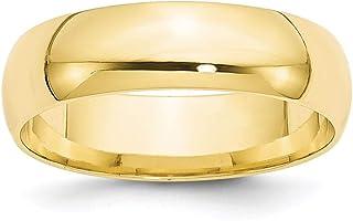 Fede nuziale da donna in oro giallo 10 kt, 6 mm LTW Comfort Fit