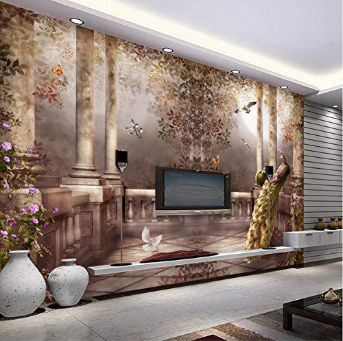 3d wallpaper für wände pfau wandbild rokoko tapete schlafzimmer raumdekor tv hintergrund...