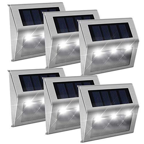 [Luz Blanca]Luces Solares Exterior Jardin,Impermeable Acero Inoxidable Lámparas Solares para Escaleras,Camino,Patio,Pared y Jardín(paquete de 6)