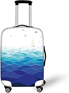Travel Luggage Cover Suitcase Protector,Tropical Seashells Nature Maritime Theme