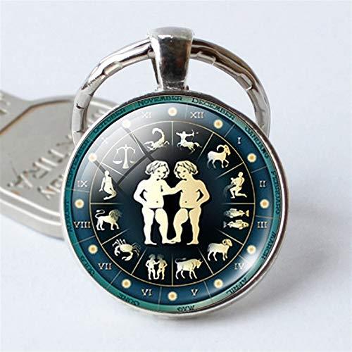jsobh Keychains 12 Constellation Jewelry Keychain Key Rings Bag Car Round portachiavi Pendant Man Woman Cartoons (Color : Gemini Keychain)