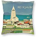DayToy Vintage Travel World Island Reykjavik Skyline Art