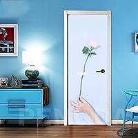 ZWYCEX ドアステッカー アートデカールステッカーのホームドアの装飾のバラの花の手北欧3D自己粘着リノベーションPVC壁紙ピクチャーリビングルームを印刷します (Sticker Size : 95x215cm)