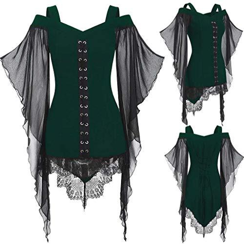 Women Halloween Cosplay Custume Gothic Criss Cross Lace Mini Dress Top Shirt Insert Half Sleeve T-Shirt Plus Size Tops
