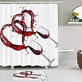 OPQRSTQ-O Juego de Cortinas y tapetes de Ducha de Tela,Vino Tinto Romance Corazón Amor romántico,Cortinas de baño repelentes al Agua con 12 Ganchos, alfombras Antideslizantes