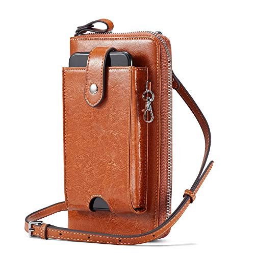 Lecxci Women Leather RFID Blocking Wristlets Purses Cell Phone Crossbody Bag Wallets with Removable Checkbook Cover (Tan)