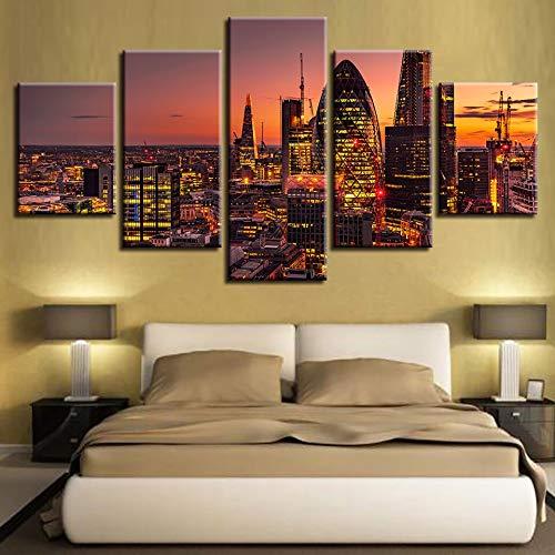 mmwin Decoración para el hogar Impresión Modular Vintage Art Canvas 5 Panel Sunset Architecture Scenery Imagen de Pared para Sala de Estar Poster