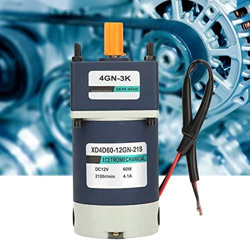 KAIBINY De imán Permanente Motor Reductor, de Alta torsión velocidades Ajustables Reducción del Engranaje del Metal del imán Permanente de CC Orientado Motor12V 60W (100RPM)