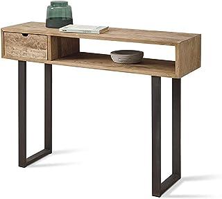HOGAR24 ES Angi 100- Mueble Recibidor-Entrada, Diseño Industrial-Vintage, Cajón Y Estante, Madera Maciza Natural, Patas Metálicas. Medidas; 100 cm x 30 cm x 75 cm