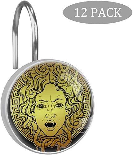 Medusa Gorgon Golden Head On Shield Duschvorhang Haken, große Vorhanghaken aus Harz, Glas, Edelstahl, 12er-Set Haken