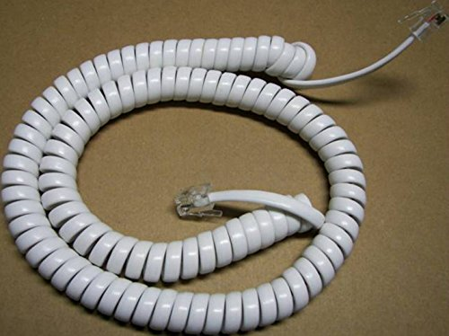 Bright White Medium Handset Cord Compatible with Uniden Corded Phone 1100 1100WH 1260 1260WH CEZ 200 CEZ 202 CEZ 260 Big Button CEZI998 D3098 DECT3098 Curly Coil Replacement 12' Ft by DIY-BizPhones