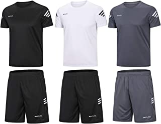 Men's Active Athletic Shorts Shirt Set 3 Pack for Workouts Basketball Football Exercise Training Running