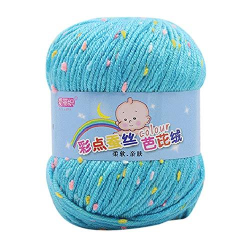 FeiliandaJJ 50g Wolle Zum Stricken & Häkeln Handstrickgarn,65% Seide Wolle + 35% Wolle,Mehrfarbig Punkt Wolle Perfekt für Hüte Pullover Schal - 12 Farben (L)