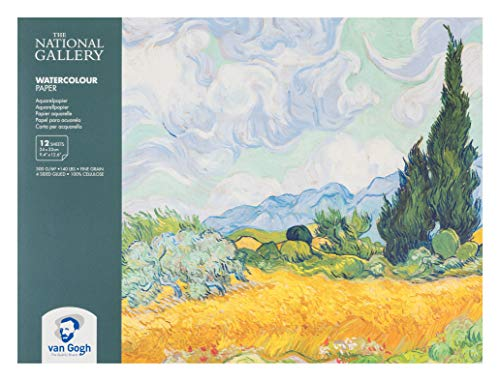 The National Gallery Van Gogh Watercolor Paper Block, 140lb, White Paper, 12 Sheets, 9.4' x 12.6', A Wheatfield, with Cypresses