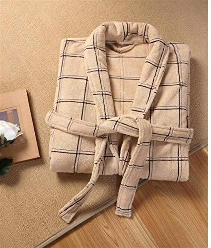 Albornoz de algodón mujeres hombres de dormir ropa de dormir camarida toalla toalla toba de toba de espesamiento parejas largas suave vestido pijamas Suave Hombres ( Color : Army Green , Size : M )