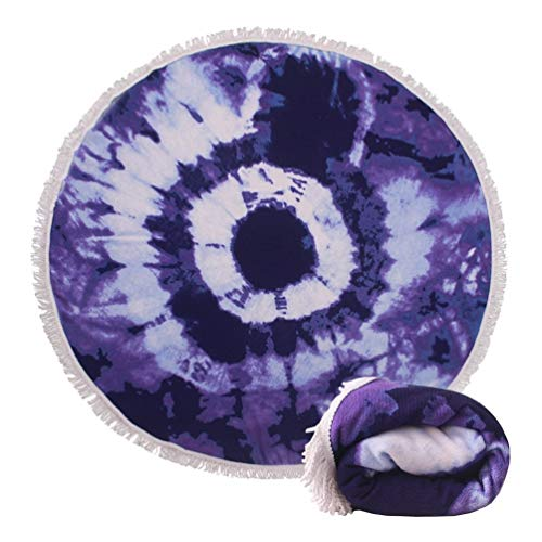 (14 Patterns) Thick Terry Round Beach Towel/Round Beach Blanket/Round Beach Mat Roundie Tapestry/Round Yoga Mat with Fringe Tassels Mandala