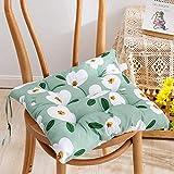 EXQULEG 4er Set Sitzkissen, Sitzkissen für Gartenstuhl, Kissen Sitzauflage Stuhlauflage mit Haltebändern für Indoor und Outdoor (40 * 40cm,R)