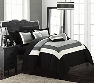 Chic Home Duke 10 Piece Comforter Set Complete Bed in a Bag Pieced Color Block Patterned Bedding with Sheet Set and Decorative Pillows Shams Included, King Black