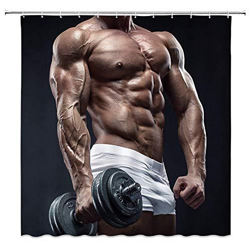 vrupi Duschvorhang Fitness Thema Sport Übung Muskel Mann Verführung Langhantel kreative 71x71 Zoll hochwertige Polyester wasserdichtes Gewebe Duschvorhang einschließlich 12 Kunststoffhaken