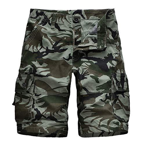 Xmiral Shorts Herren Im Freien Einfarbig Cargohose Strandshorts Zipper-Taste Freizeitkleidung Jogger Fitness Atmungsaktive schnell(G Armee Grün,XL)