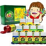 Fingerfarben Kinder Ungiftig 12 Farben Waschbar Fingermalfarben Kleinkind Finger Paint Set, Fingermalfarben für Kinder DIY, geeignet zum Malen in Kindergarten, Schule, Therapie und zu Hause