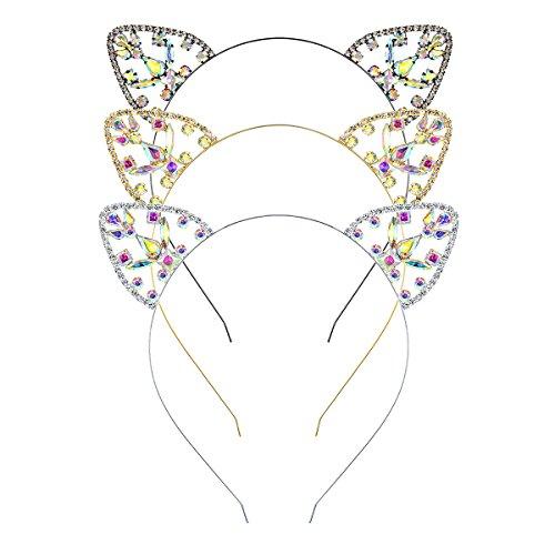 DcZeRong 3pcs Cat Ear Headband Rhinestone Hair Hoop Headpieces Cat Ear Headwear Hair Band Mix Color
