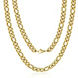 M MOOHAM Gold Chain for Men, 10mm 34 Inch Stainless Steel Gold Plated Figaro Chain Necklace for Men