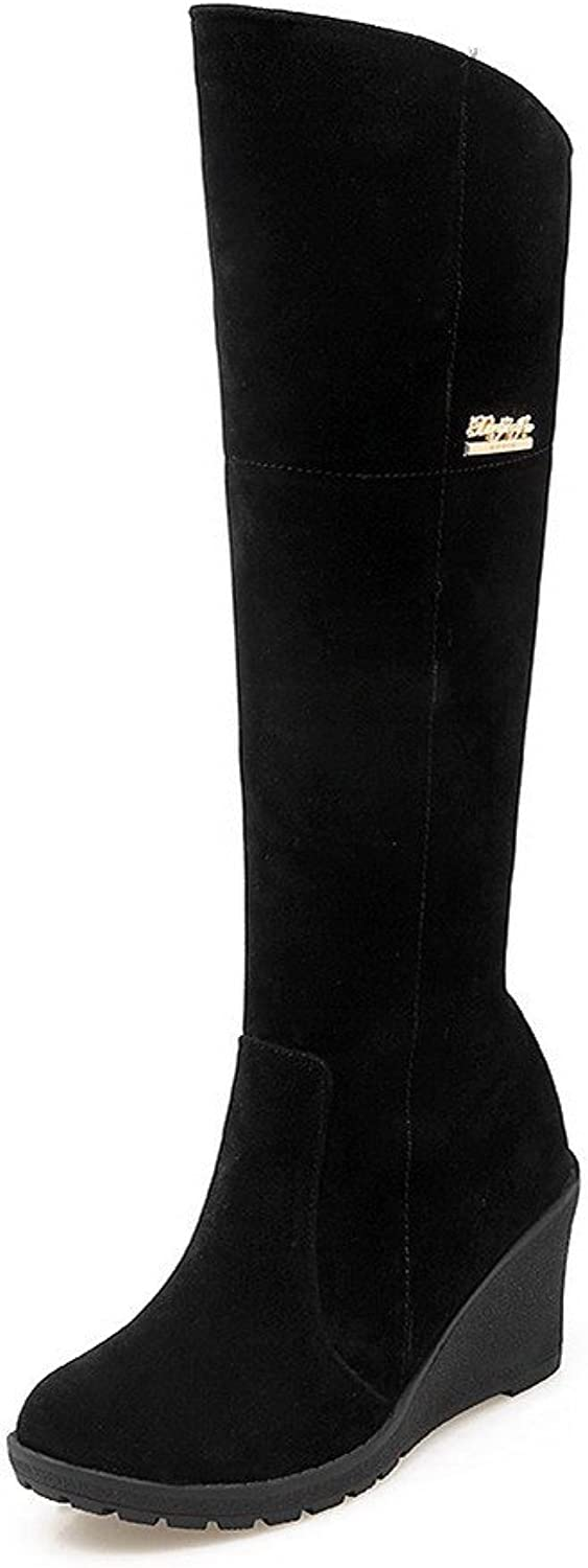 AmoonyFashion Women's High-Heels Solid Round Closed Toe Frosted Zipper Boots