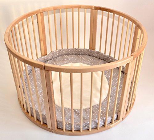 Parque infantil redondo de madera maciza con incrustaciones suaves, 120 cm de diámetro marrón POLAR DOTS MARRÓN Talla:120cm