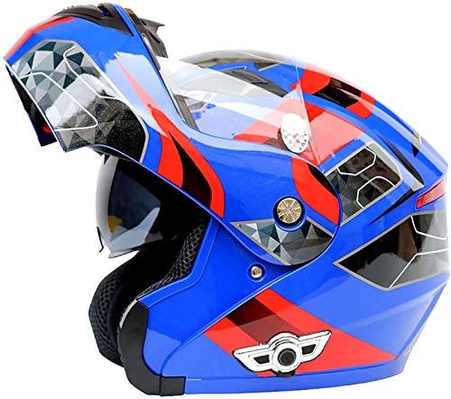 Casco Modular Bluetooth Casco de Moto,Certificación ECE Cascos Integrale Motocicleta Flip Up Full Face con Doble Visera para Hombres y Mujeres Adultos (Color : 7, Size : XL)