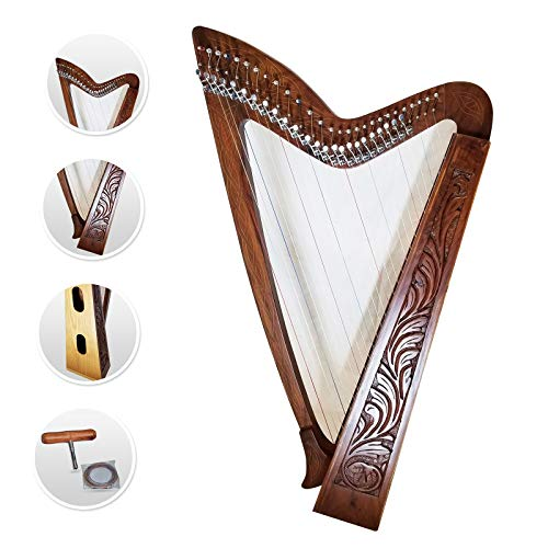 27 Strings Lever harp Irish Celtic Highland Solid Rosewood Natural Finish Mono tech Nylon strings Tuning Key Extra Set included 37' inches tall Roseback