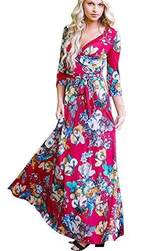 Dames Wikkeljurk Bloemenprint 3/4 Mouw V-hals Jurk Halve Mouwen Gekruiste voorkant Maxi-jurken met Zakken voor Een Verjaardagsfeestje Casual