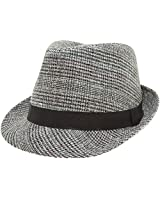 MIRMARU Men's Classic Fashion Short Brim Trilby Structured Gangster Fedora Hat with Band (Houndtooth, Grey, LXL)