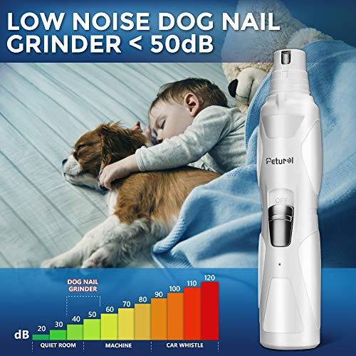 Dog Nail Grinder Upgraded 2 Speed Pet Nail Trimmer Gentle Painless Electric Paws Grooming Trimming Small Medium Large Dogs Cats Portable Rechargeable by Petural