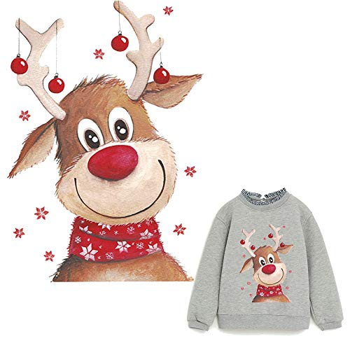 Deer Iron On Patches Elk Heat Transfer Stickers New Design with Christmas Animals Washable Cute Decoration for T-Shirt,Sweatshirt