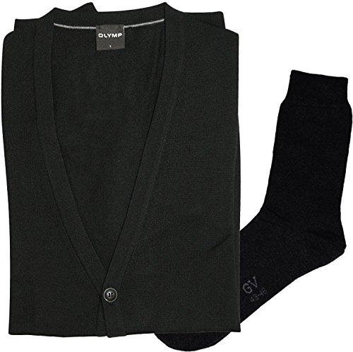 OLYMP Strick Cardigan Strickjacke - Merinowolle, V-Ausschnitt, schwarz + 1 Paar hochwertige Socken, Bundle