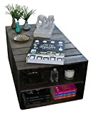 Table Basse en Bois 2 Compartiments, sur roulettes, Style Caisse Vintage, Pin Massif Nordique - Liza – 51 x 83 x 40 cm (Taupe)