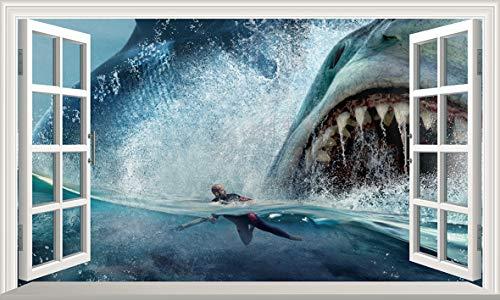 Chicbanners die Meg Megalodon Shark 3D Magic Fenster V106Wandtattoo Selbstklebende Poster Wall Art Größe 1000mm breit x 600mm tief (groß)