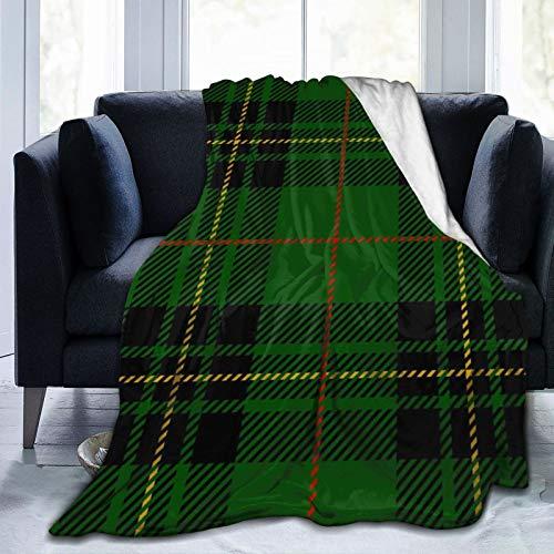 Schwarzer Abstrakter Clan Forbes Tartan Plaid Schottisches Muster Grün Karierte ultraweiche Micro-Fleece-Decke, Luxus-All-Seasons-Warm-Mikrofaser-Decke für Schlafsofa und Travel 60
