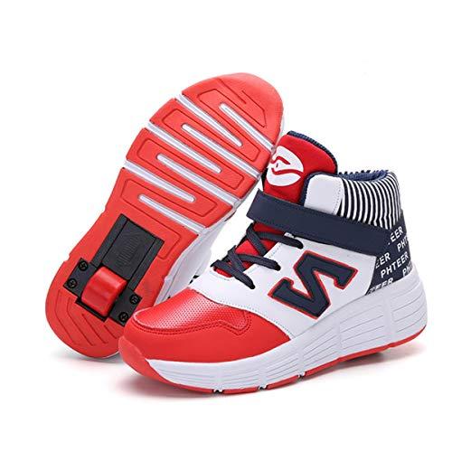 GWYX Zapatos con Ruedas para Niños, Zapatillas De Skate Extraíbles De Entrenamiento Al Aire Libre Retráctiles Automáticas En Línea con Zapatillas De Deporte con Ruedas,Red-32EUR