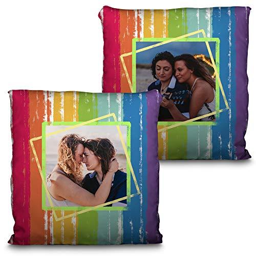 LolaPix Cojin Design Día del Orgullo Personalizado con Foto/Imagen/Texto/Nombre. Varios Diseños LGTBQ y Tamaños a Elegir. Regalo Original y Exclusivo. Arco Iris