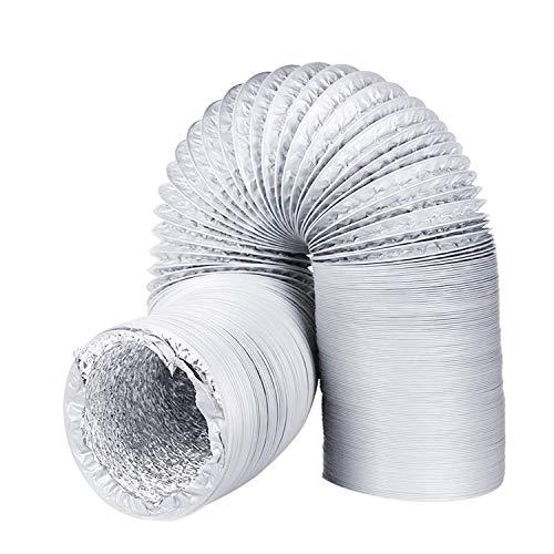 Conducto de ventilación de aluminio universal flexible PVC manguera de ventilación a prueba de humedad conducto de aire para secadora, extractor ventilador, baño y cocina ventilación(3m*100mm)