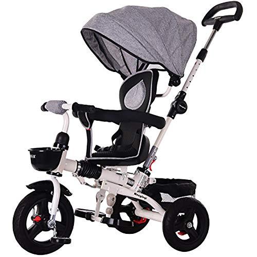 HYLX 4 en 1 Triciclo Infantil Plegable Bebe Evolutivo Trike Bike Bebé Pedal Bicicleta Niños Capota Extraíble Barra Telescópica Control Parental Dirección 6 Meses a 5 Años Máx 30 kg, Gray