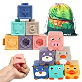 Baby Blocks, Soft Stacking Building Blocks for 6 to 12 Months Toddlers Boys & Girls, Safe Teething Chewing Shower Blocks, Sensory Toys for Kids, Early Learning Textured Squeeze and Stack Tool 12pcs