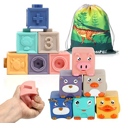 12 Stück Baby Bausteine Spielzeug-Weiche Quetschbare Blöcke, Tiere und Zahlen Montessori Badespielzeug, Pädagogische Motorik Bauklötze oder Beißring für Babys
