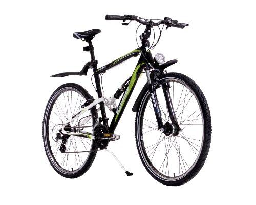 Karcher Alu-ATB Fully Fahrrad, 24-Gang Shimano Altus Kettenschaltung mit Shimano-Nabendynamo, schwarz/weiß, Rahmenhöhe: 53 cm, Reifengröße: 28 Zoll (71,1 cm), 280248
