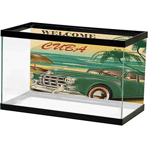 ScottDecor Retro Aquarium Background Nostalgic Welcome to Cuba Artsy Print with Classic Car Beach Ocean Palm Trees Photography Background Undersea Backdrop Green Cream Yellow L48 X H18 Inch