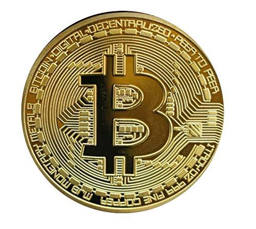 Promotech 24-Karat vergoldete 45 mm Durchmesser Bitcoin Münze Sammlerstück in Münzkapsel für jeden Kryptowährung BTC Fan